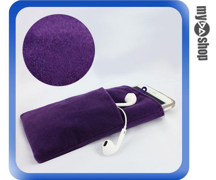 《DA量販店》Apple 三星 HTC SONY 通用 雙層 絨布袋 5吋 紫色(80-2107)