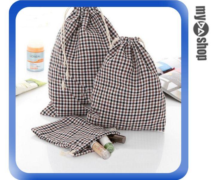 《DA量販店》麻棉布 方格 格子 收納袋 縮口袋 禮品袋 咖啡色 中(V50-0109)