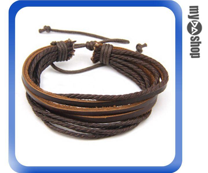 《DA量販店》日韓 男女 情侶 時尚 個性 編織 多層 手環 手鍊 棕色(V50-0237)