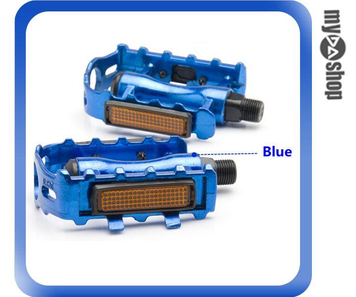 《DA量販店》鋁合金 反光條 公路 山地 自行車 單車 腳踏板 藍(V50-0320)