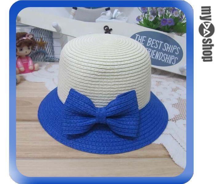 《DA量販店》親子 母女 蝴蝶結 雙色 草帽 遮陽帽 沙灘帽 兒童款 藍色(V50-0342)