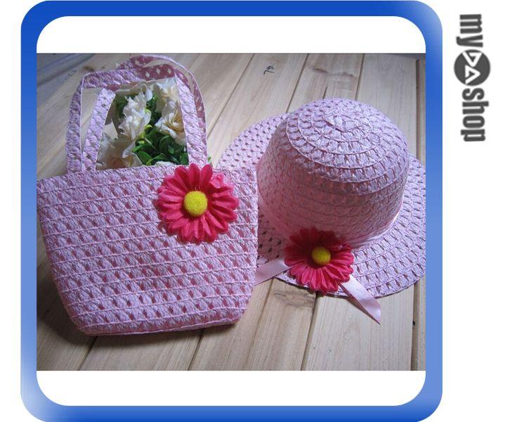 《DA量販店》夏季 兒童帽 遮陽帽 草帽 花 編織 韓版 手提袋 包包 粉色款(V50-0352)