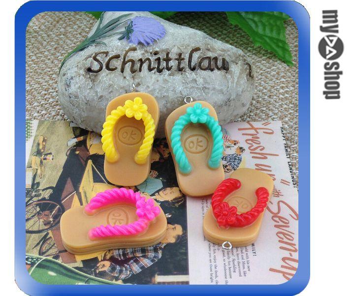 《DA量販店》韓國 可愛 創意 禮品 手機 吊飾 拖鞋 夾拖 一組五入 顏色隨機(V50-0426)
