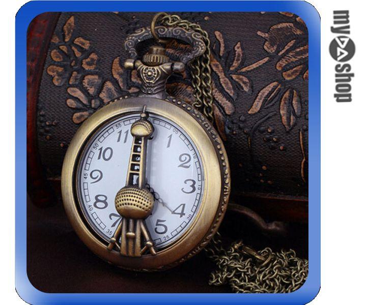 《DA量販店》歐式 復古 典雅 氣質 鐵塔 懷錶 長鏈 項鍊 毛衣鍊 古銅色(V50-0514)