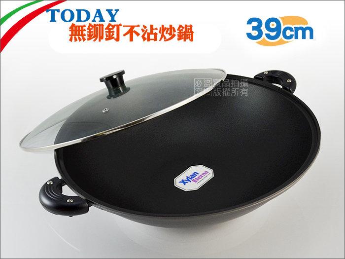 快樂屋♪ JAPAN TODAY無鉚釘鑄造不沾鍋 39cm (炒鍋/炒菜鍋/菲姐/理研)
