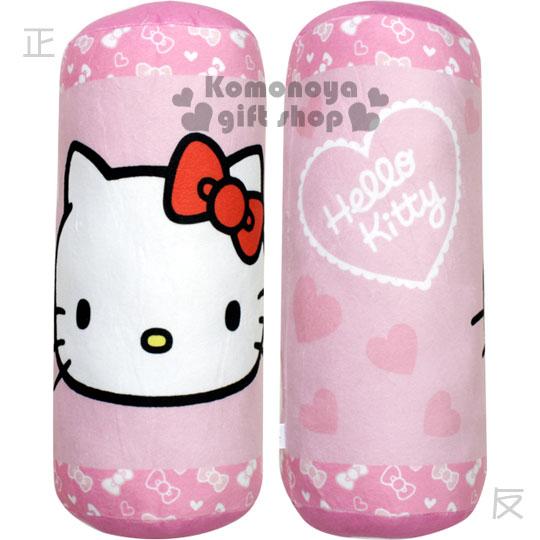 〔小禮堂〕Kitty 圓筒絨毛抱枕《粉.大臉.蝴蝶結.愛心》