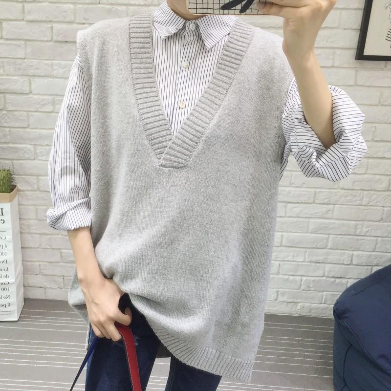 PS Mall 大V領毛衣針織馬夾毛線背心馬甲【T2567】