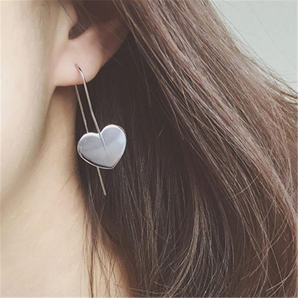 PS Mall 歐美簡約風格 U型時尚OL風金屬合金心形耳環 幾何愛心耳鉤耳飾品【G2154】