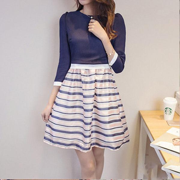 PS Mall 雪紡假兩件式洋裝 歐根紗裙傘狀拼接條紋連身裙【T583】