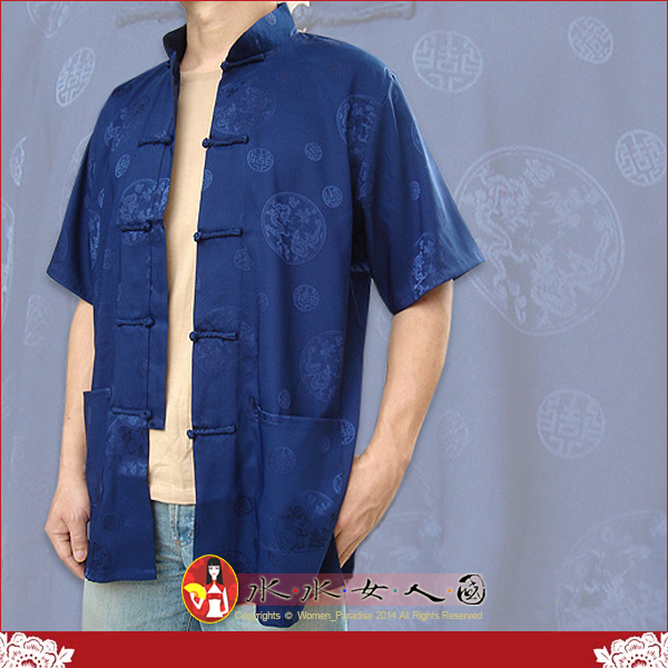 【水水女人國】~中國風男士唐裝~驚喜價599元~吉祥雙龍。書卷氣質十足的綢緞短袖上衣*五色