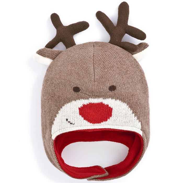 【HELLA 媽咪寶貝】英國 JoJo Maman BeBe 保暖毛帽_歡樂麋鹿 (JJHAT-08)
