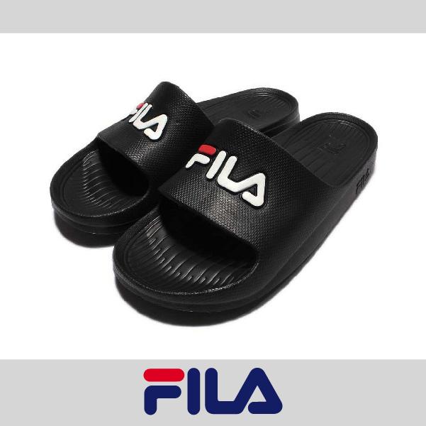 萬特戶外運動 FILA 4-S355Q 防水 超輕量 一體成形 無接縫 男女尺寸 運動 沙灘拖鞋 情侶鞋 復古經典 黑色