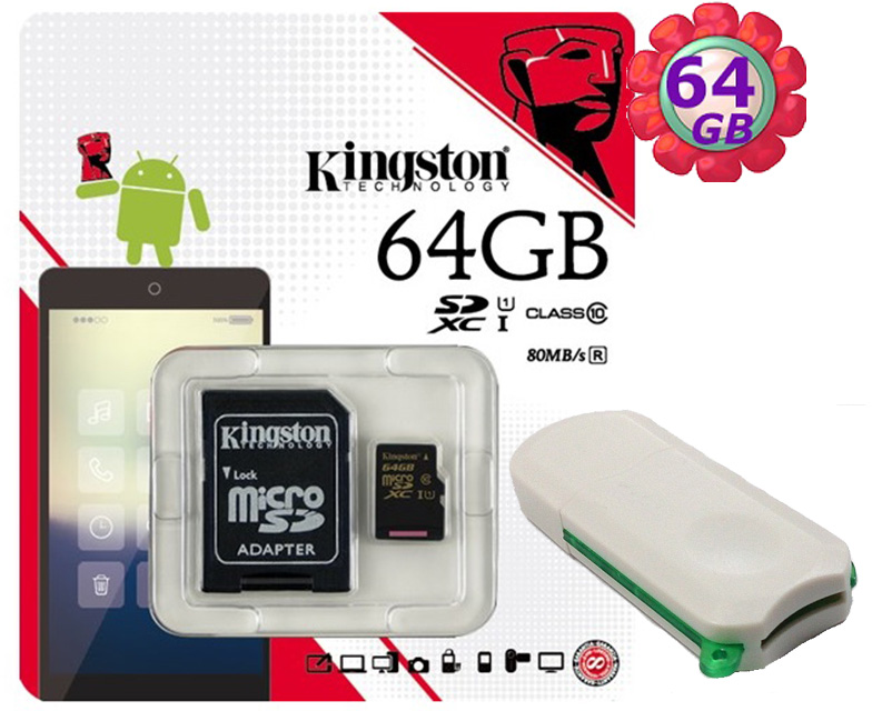 附V39 microSD 讀卡機 KINGSTON 64GB 64G 金士頓【80MB/s】microSDXC microSD SDXC  micro SD UHS-I UHS U1 TF C10 Class10 手機記憶卡 記憶卡