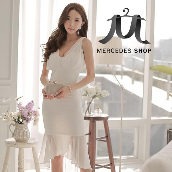 [現貨出清6折] 韓國性感深V無袖魚尾裙洋裝 - 梅西蒂絲