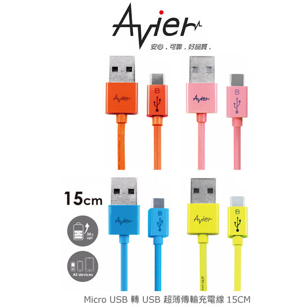 強尼拍賣~ Avier micro USB 轉 USB 超薄傳輸充電線15cm –彩色款 MU2015 傳輸線
