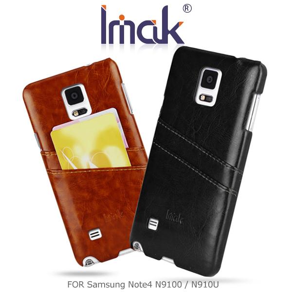 強尼拍賣~ IMAK Samsung Note4 N9100/N910U 睿智系列後插卡保護殼 可插雙卡 皮面背殼