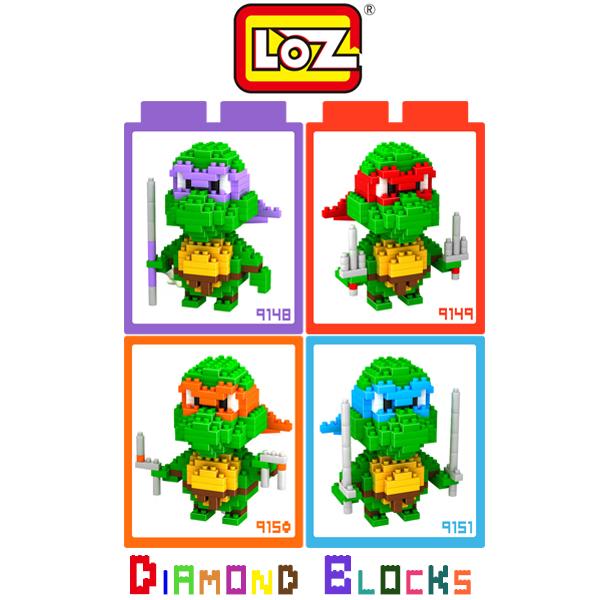 強尼拍賣~LOZ 鑽石積木 9148 - 9151 烏龜系列 多納太羅 拉斐爾 米開朗基羅 李奧納多 益智玩具 趣味