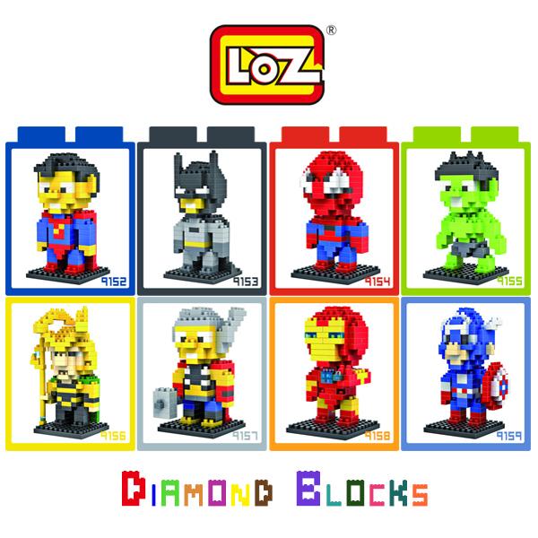 強尼拍賣~LOZ 鑽石積木 9152 - 9159 英雄系列 超人 蝙蝠俠 蜘蛛人 浩克 洛基 雷神 鋼鐵人 美國隊長