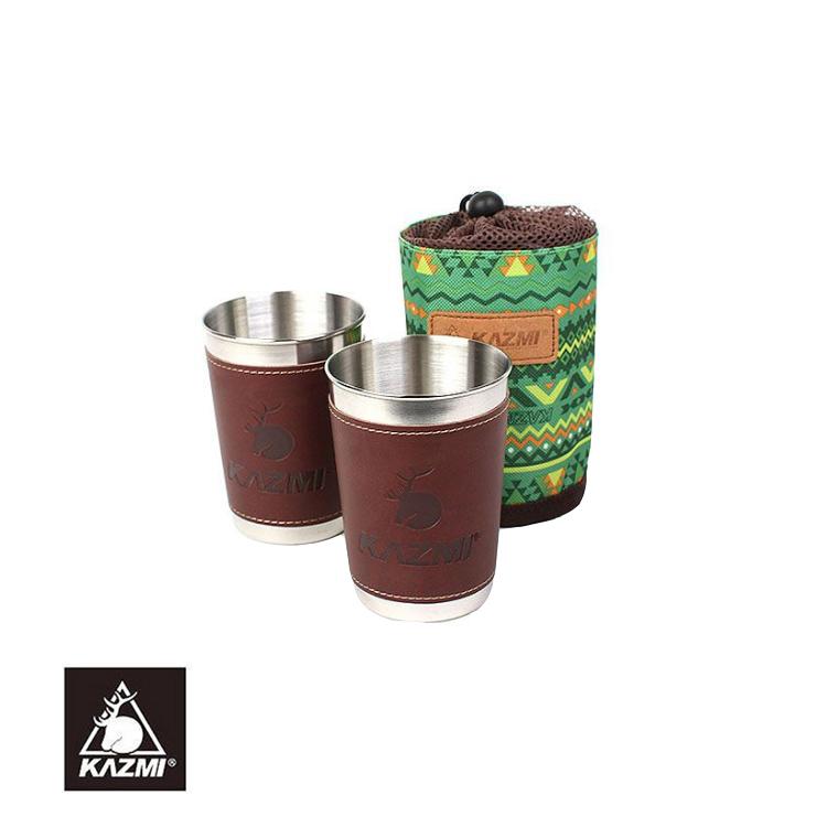 KAZMI 仿皮革不銹鋼杯K5T3K006(300ml/綠)/城市綠洲(戶外、露營、不銹鋼、民族風、杯)