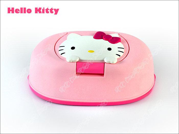 快樂屋♪ 日本製 全新正版原裝*HELLO KITTY 凱蒂貓紙巾盒 附濕紙巾1包~面紙盒可重複使用.大人小孩可用