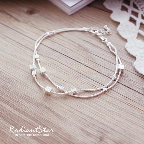 羅馬小方塊雙層925純銀鍍白銅手鍊/手環【B004】璀璨之星☆