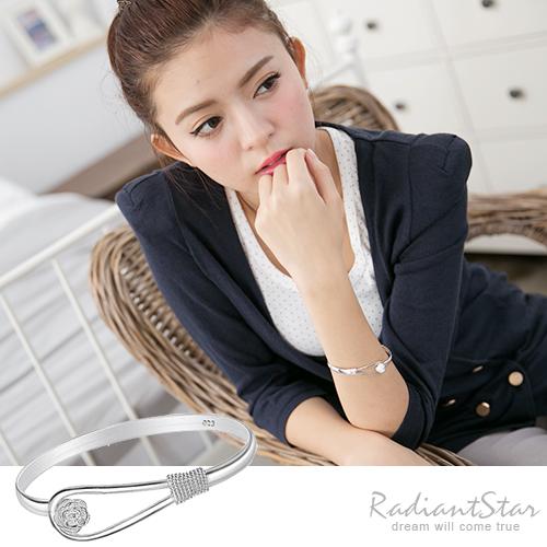 低調奢華925純銀玫瑰金屬手環/手鐲【BAK180】璀璨之星☆