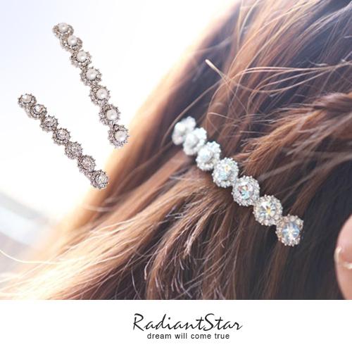華麗晶鑽珍珠長條髮夾/瀏海夾【HA251】璀璨之星☆