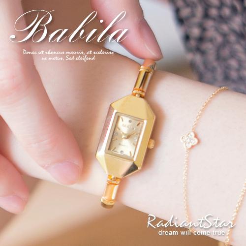 日本BABILA微光質感時尚氛圍銅製小方竹節金錶【WBA5279L】璀璨之星☆預購