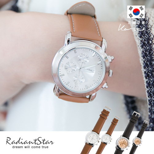 正韓DonBosco浪漫約定假三眼皮革錶對錶【WDB604】璀璨之星☆預購