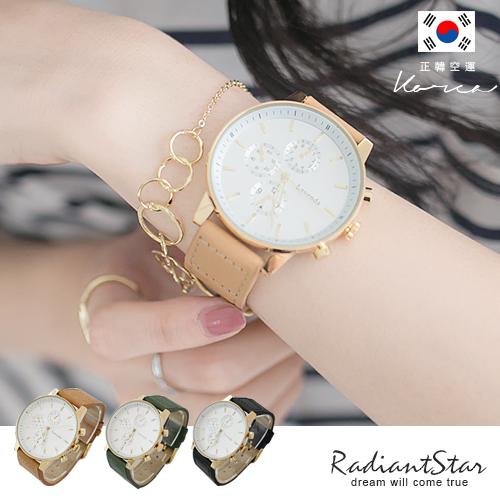 正韓LAVENDA假三眼車線大圓真皮手錶對錶【WLA226】璀璨之星☆預購