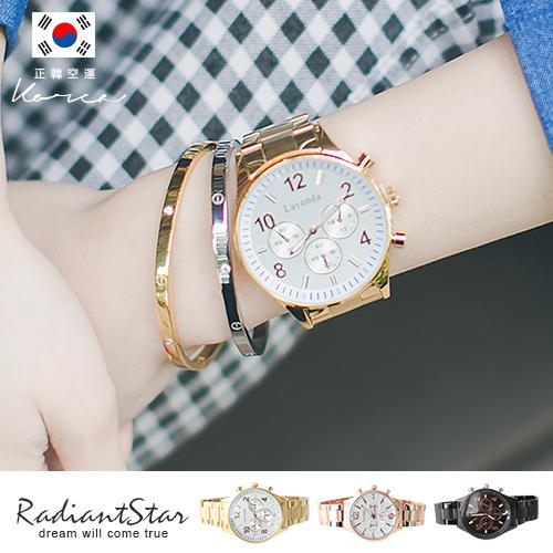 正韓LAVENDA風中奇緣假三眼金屬鍊帶錶/對錶/手錶【WLA241】璀璨之星☆