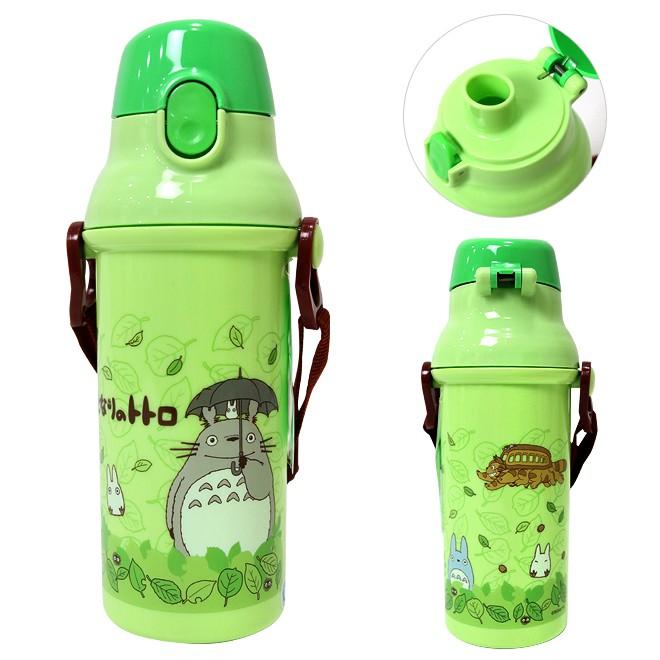 【真愛日本】14042500065 直飲彈蓋水壺480ml-灰龍貓撐傘綠  龍貓 TOTORO 豆豆龍 水壺  水瓶  正品