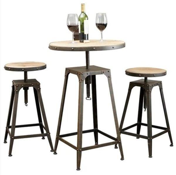 《Chair Empire》一桌二椅 Loft風 法國工業風 水管 茶几 鐵藝桌椅 做舊圓桌 旋轉吧椅 吧台桌 吧台椅