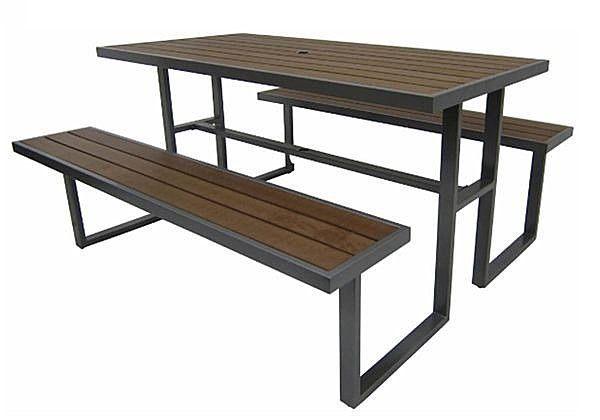 《Chair Empire》 S43A12 塑木野餐桌椅組 排椅 休閒椅 休閒桌 戶外桌椅組 啤酒桌 泳池邊桌椅 公園椅