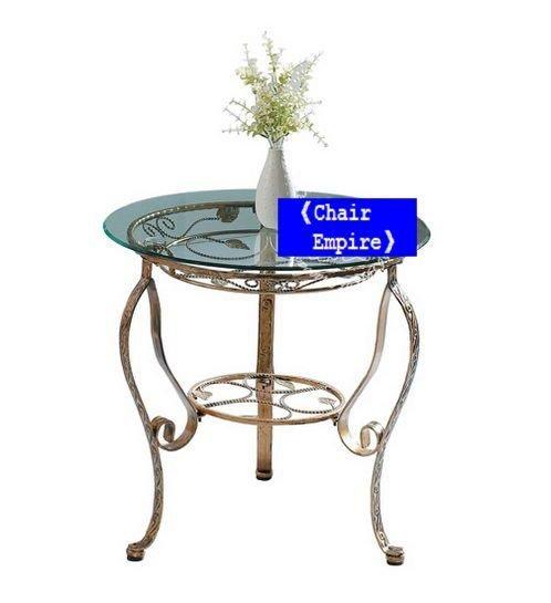 《Chair Empire》534茶几 鐵藝玻璃圓形茶幾藤藝強化田園簡約戶外休閒庭院家具