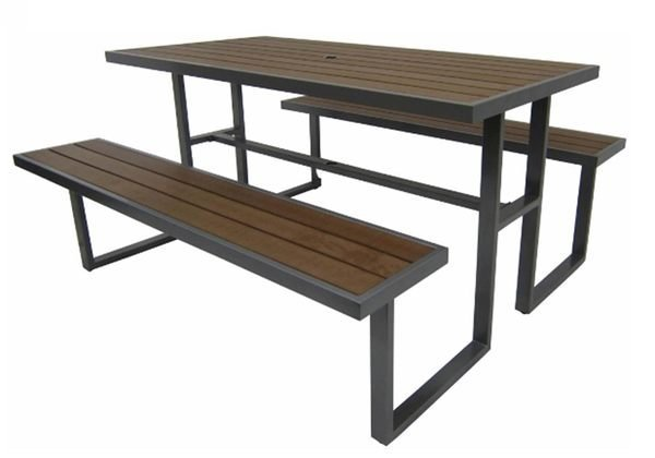 《Chair Empire》 S43A12 塑木野餐桌椅組 排椅 休閒椅 休閒桌 戶外桌椅組 啤酒桌