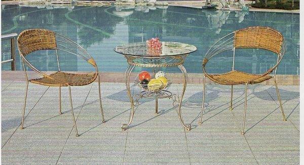 《Chair Empire》518+627一桌二椅 戶外桌椅 藤椅休閒椅陽台 咖啡廳桌椅 露天桌椅組合 仿藤