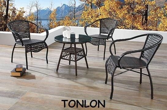 《Chair Empire》一桌三椅仿藤休閒桌椅南洋風戶外桌椅庭院休閒桌椅 塑膠藤 陽台桌椅016+036