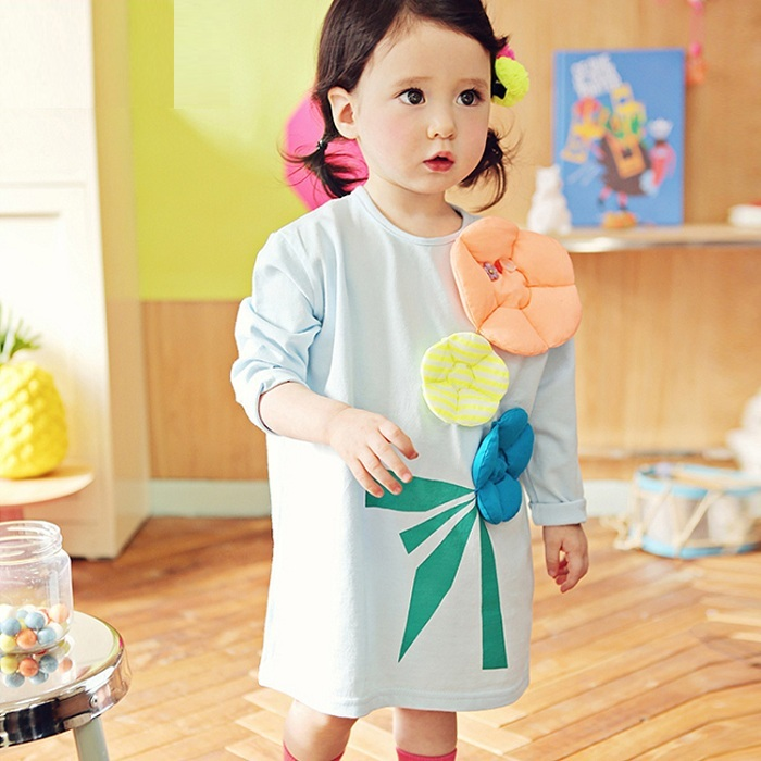 春秋季超卡哇依立體夾棉花朵寬松長袖洋裝裙~白色、淺藍色~韓單正品MYFAHION品牌