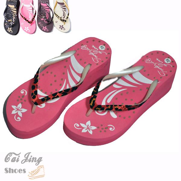 ◆人字拖◆時尚風厚底鬆糕浪漫狂野豹紋夾腳拖鞋。黑色/粉色/杏色/咖啡色★采靚衣飾精品★