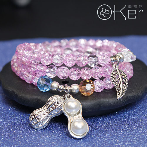 天然水晶手鍊粉爆花石花生綴飾招財多圈手鍊 熱銷款 O-Ker KAS391