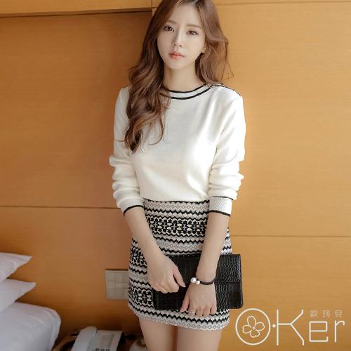 時尚小香風簡約針織上衣幾何民族風短裙套裝 大尺碼套裝 O-Ker LL58109