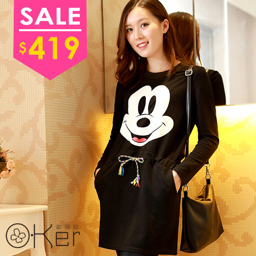 韓版秋冬新款米奇印花收腰連身裙 O-Ker LL1918 新品卡通外套到貨
