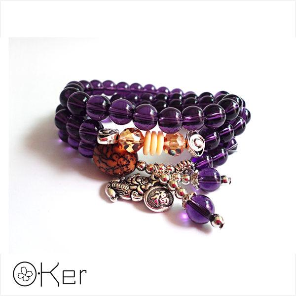 天然紫水晶瑪瑙菩提貔貅多層次手鍊
