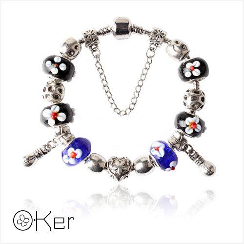 潘多拉風格時尚琉璃串珠手鏈-花朵黑藍琉璃系列(藍色)18cm