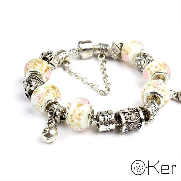 潘多拉風格時尚琉璃串珠手鏈-福氣珠子系列(黃色)18cm