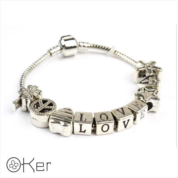 潘多拉風格LOVE銀飾手鍊18cm