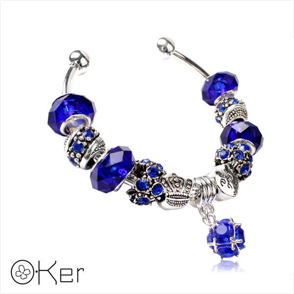 潘多拉風格琉璃串珠手環-愛心皇冠系列(藍色)5.5cm