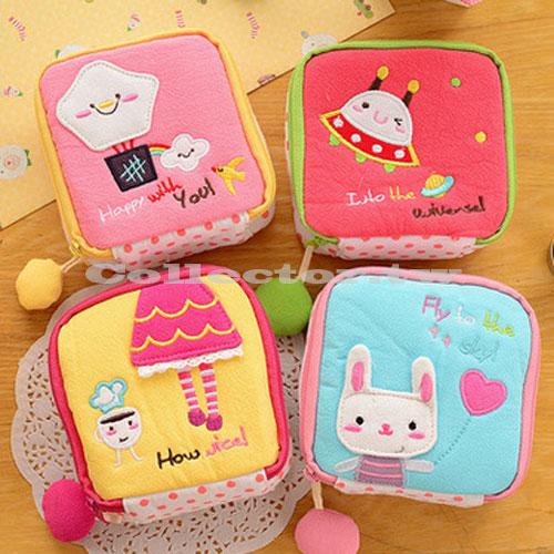 【G16051201】可愛卡通拼繡布藝衛生棉包 女生必備化妝包 大容量零錢包 鑰匙包