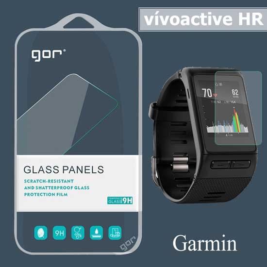 【GOR鋼化膜】Garmin vívoactive HR 智慧手錶 鋼化玻璃保護貼/9H硬度防刮保護膜/玻璃膜-二片裝(贈吸盤)